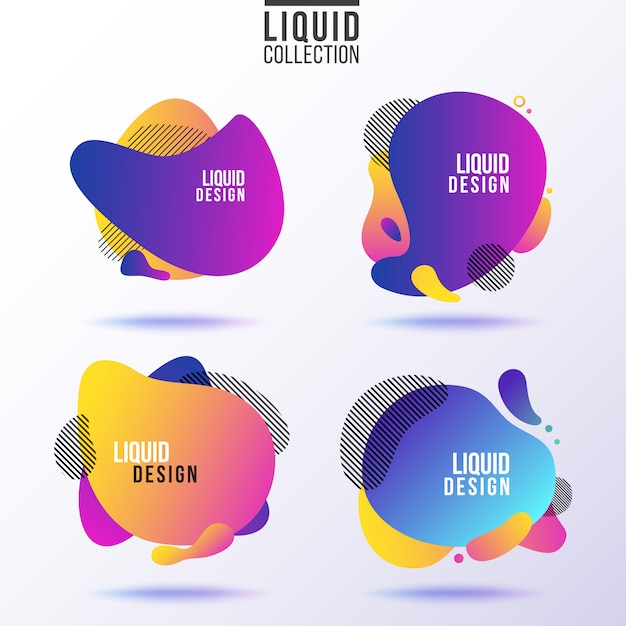 Liquid banner collection. Premium Vector
