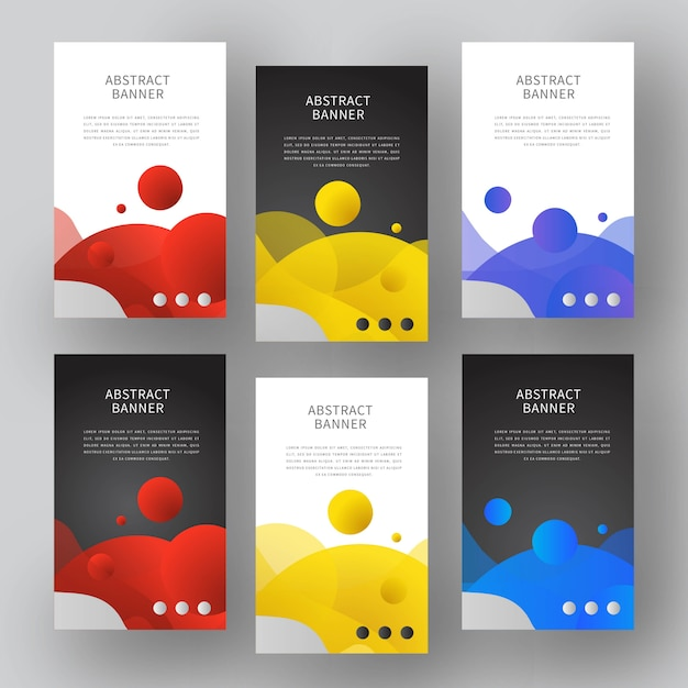 Liquid color abstract banners Premium Vector