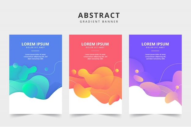 Liquid color business banner 3 pack Free Vector