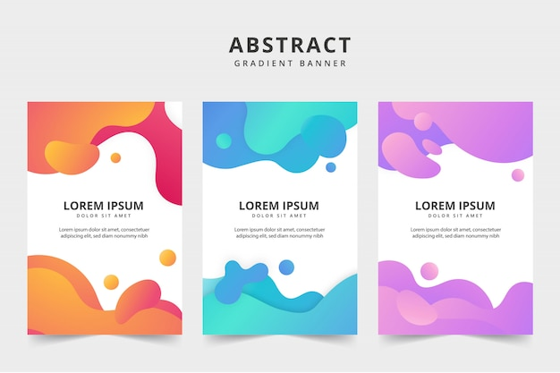 Liquid color business banner pack Free Vector