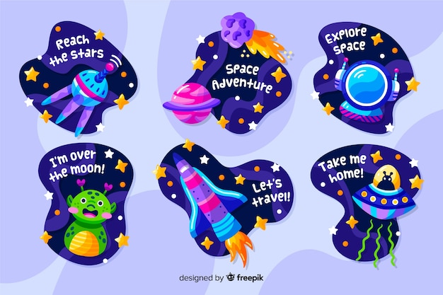 Liquid design space sticker collection Free Vector
