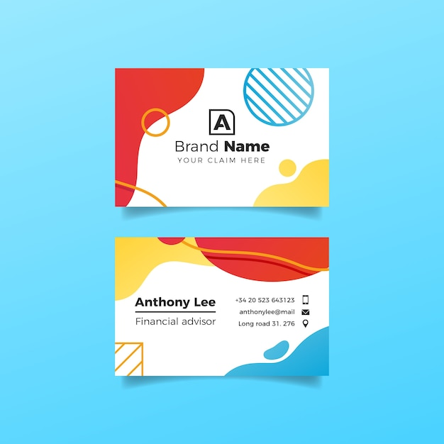 Liquid effect and circles design for business card Free Vector
