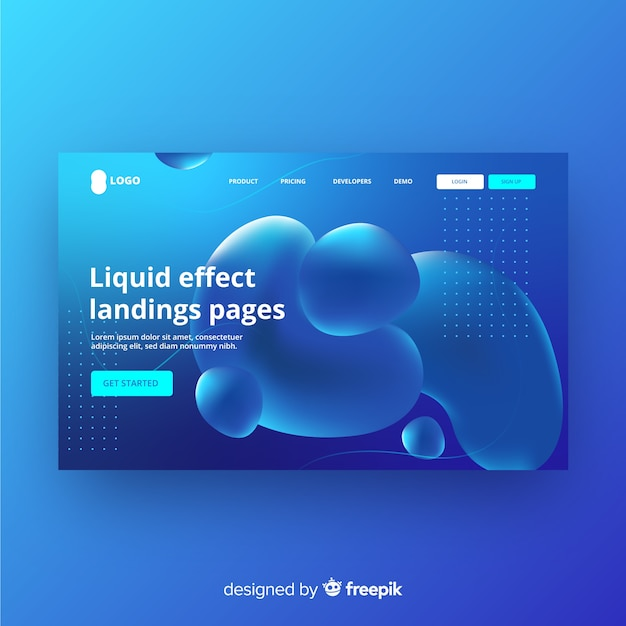Liquid effect landing page Free Vector