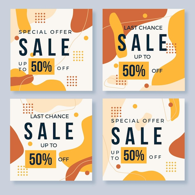 Liquid effect organic sale social media collection Free Vector