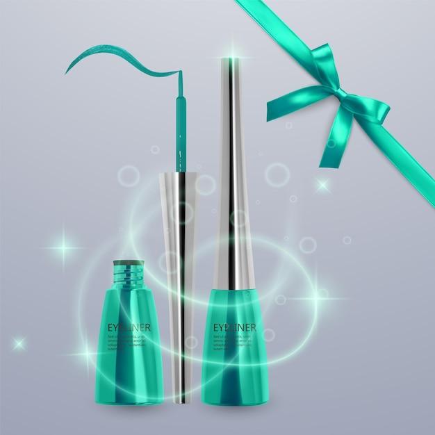 液体アイライナー、明るい緑色のセット、3dイラストで化粧品用のアイライナー製品のモックアップ、明るい背景で隔離。ベクトルeps10イラスト Premiumベクター