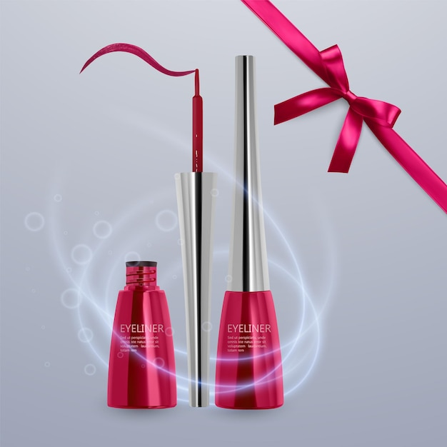 液体アイライナー、明るい赤色のセット、3dイラストで化粧品用のアイライナー製品のモックアップ、明るい背景で隔離。ベクトルeps10イラスト Premiumベクター