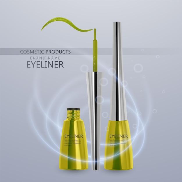 液体アイライナー、明るい黄色のセット、3dイラストで化粧品用のアイライナー製品のモックアップ、明るい背景で隔離。ベクトルeps10イラスト Premiumベクター