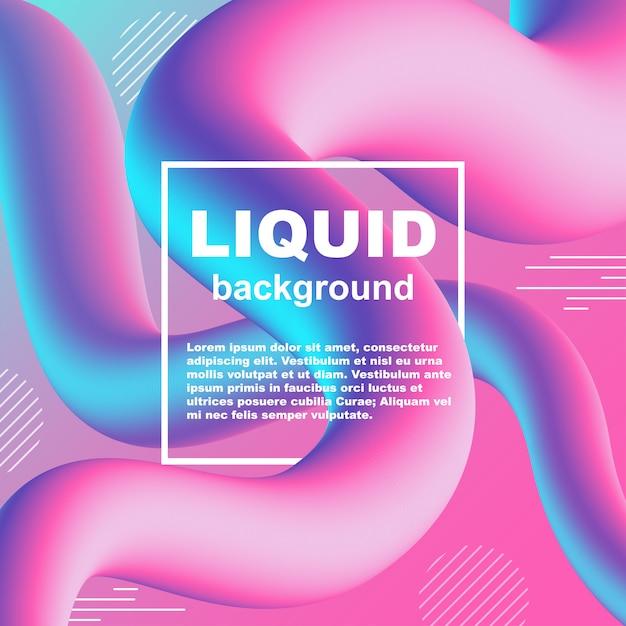 Liquid flow trendy gradient neon vector background Premium Vector