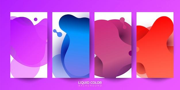 Liquid gradient color abstract geometric shapes Premium Vector