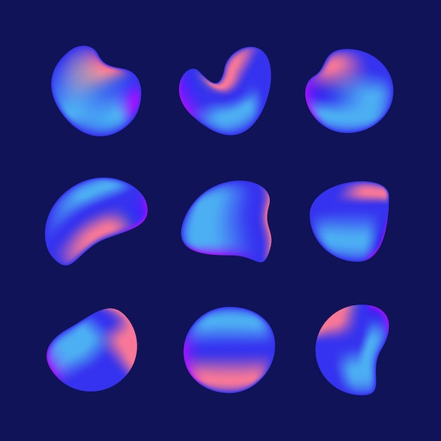 Liquid iridescent holographic gradient shapes elements set Premium Vector