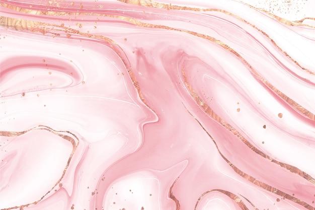 Sfondo di marmo liquido con texture lucida dorata Vettore gratuito