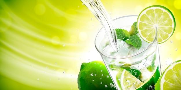 緑の背景にライムとミントとモヒートに注ぐ液体 Premiumベクター