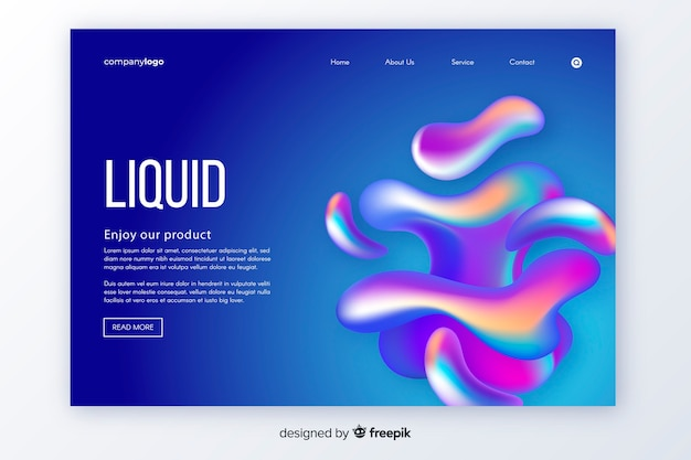 Liquid shapes landing page template Free Vector