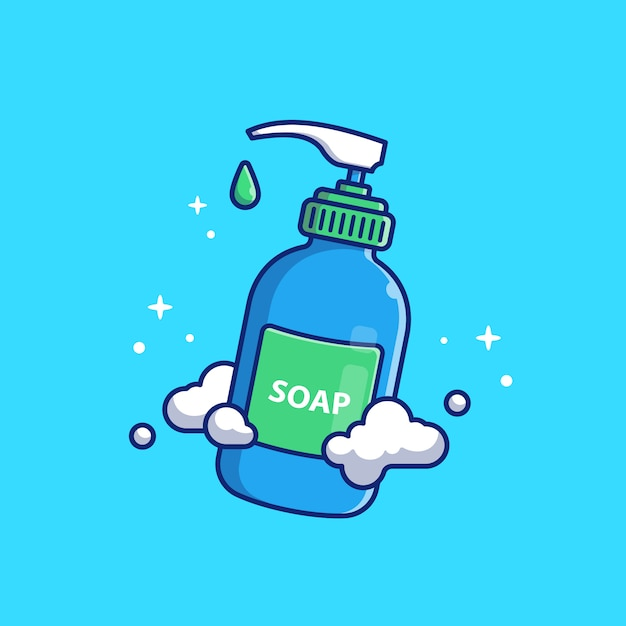Liquid soap   icon illustration. washing hand  . healthcare and medical icon concept isolated Premium Vector