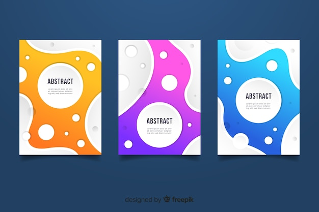 Liquid style colorful abstract cover collection Free Vector
