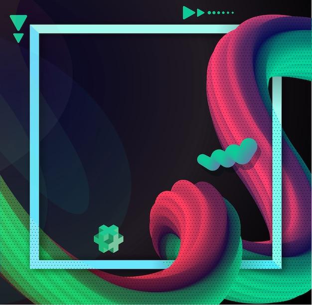 Жидкая волна 3d красочный абстрактный фон Premium векторы