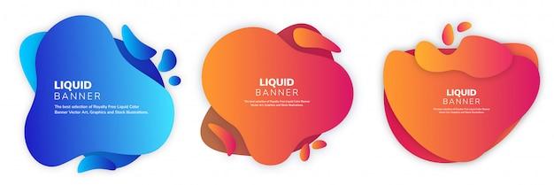 Liquify fluid color banner  set Premium Vector