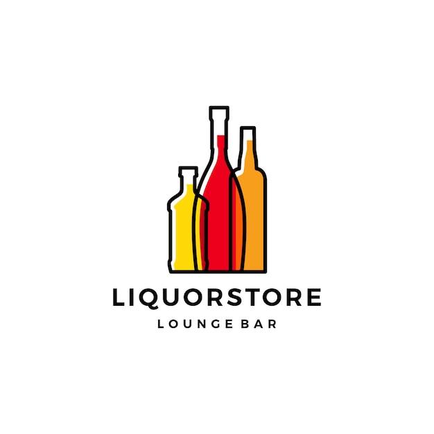 Liquor store shop cafe beer wine logo Premium Vector