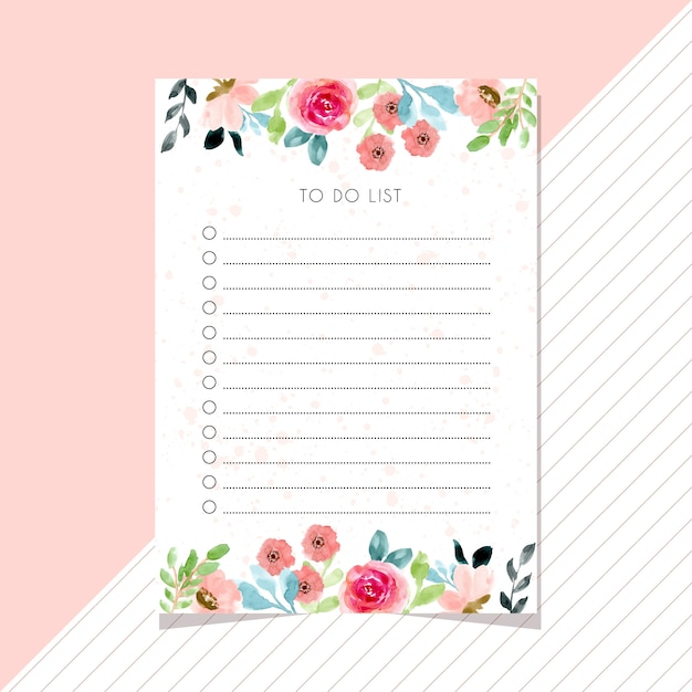 To do list card with flower watercolor border Premium Vector