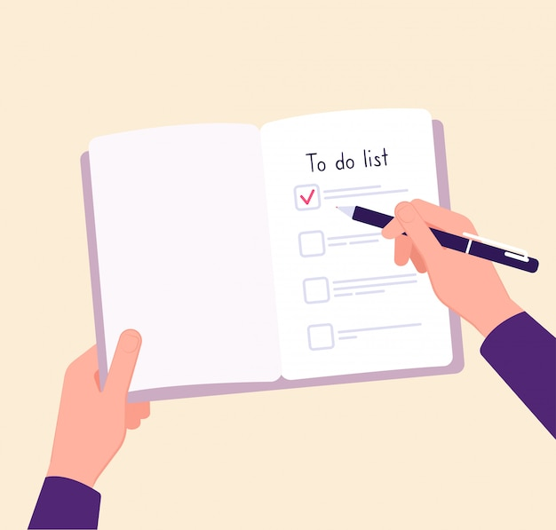 To do list concept. hands on table writing memo checklist. complete business plan  concept Premium Vector