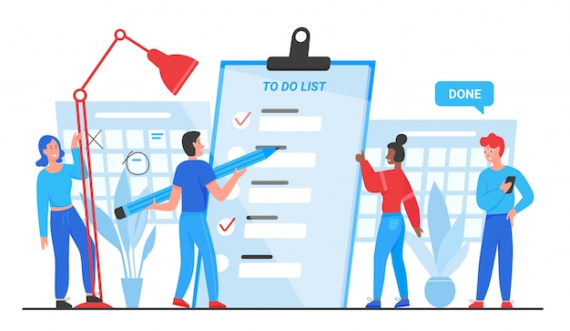 To do list, goals complete concept illustration. cartoon flat tiny people group planning, standing near checklist planner paper document, marking completed business tasks isolated Premium Vector