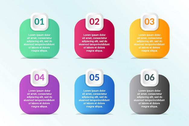 Инфографический дизайн списка с 6 списками информации Premium векторы