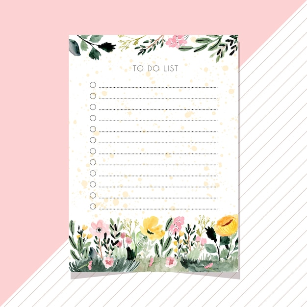 To do list notes with floral garden watercolor background. Premium Vector