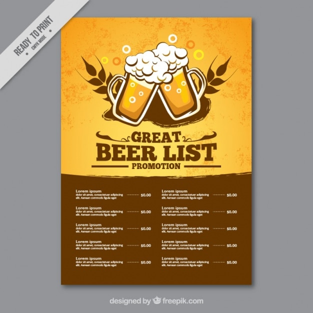 List of beers Free Vector