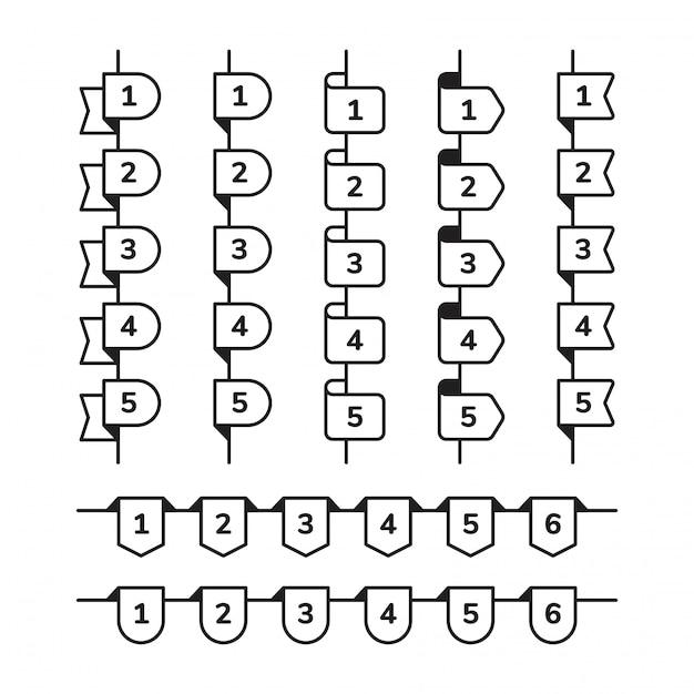Список номера пули в различной форме. Premium векторы