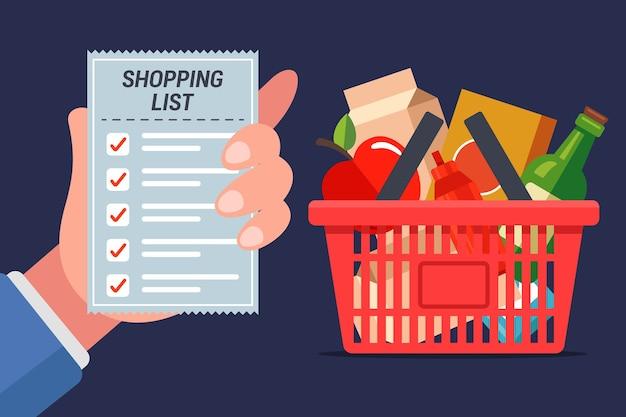 店に行く食料品のリスト。フルショッピングカート。 Premiumベクター