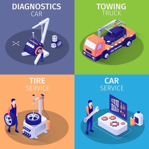 List services in car garage set of isometric cards Premium Vector