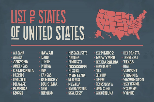 List of states of united states of america Premium Vector