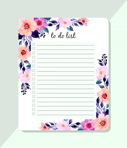 To do list with blue and pink watercolor floral Premium Vector