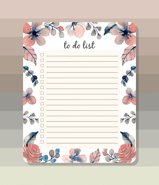 To do list with watercolor floral Premium Vector