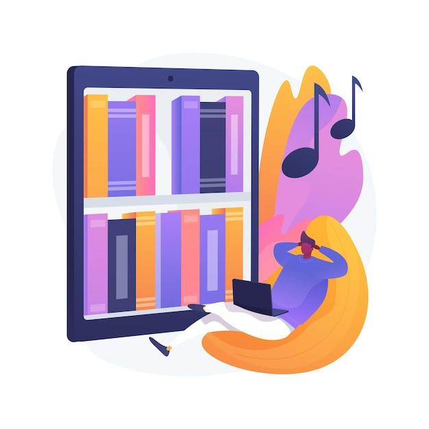 Слушайте аудиокниги абстрактные концепции иллюстрации. онлайн-приложение аудиокниг, подписка на веб-сайт, покупка электронных книг, электронная библиотека Бесплатные векторы