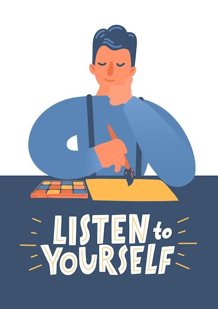 Слушайте себя. человек думает, что нарисовать на бумаге. Premium векторы