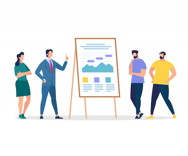Listeners and coach presentation at chart board Premium Vector