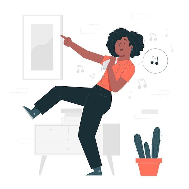 Прослушивание счастливой музыки концепции иллюстрации Бесплатные векторы