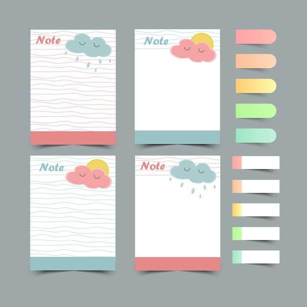 日記プランナーのセットと実行するlists.planners、lists.sticky note.isolatedを確認してください。図。 Premiumベクター