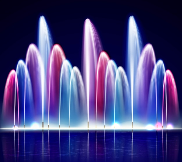 Lit night colorful fountain realistic illustration Premium Vector