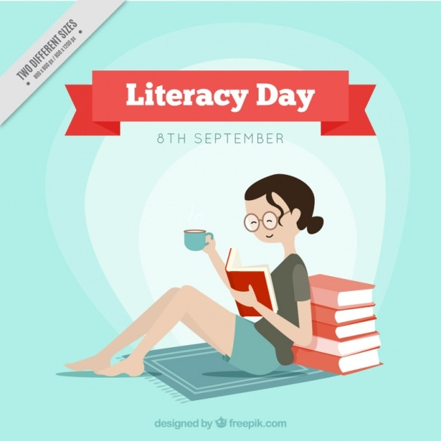 Literacy day background of smiling girl reading a book ...