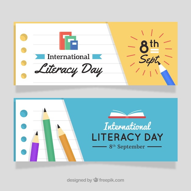 Literacy day banners with pencils Free Vector