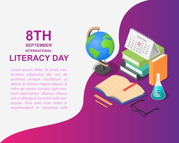 Literacy day book in isometric style Premium Vector