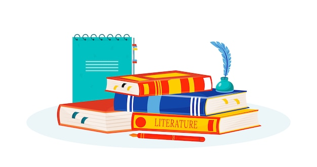 Literature    illustration. books reading. creative writing. school subject. storytelling study metaphor. textbooks stack, notepad and inkwell  cartoon objects Premium Vector