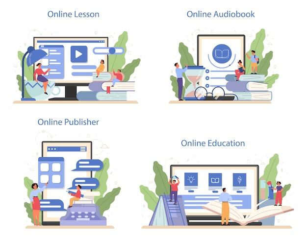 Литературный школьный предметный онлайн-сервис или набор платформ. идея образования и знаний. изучите античного писателя и современный роман. онлайн-урок, аудиокнига, онлайн-издательство. Premium векторы