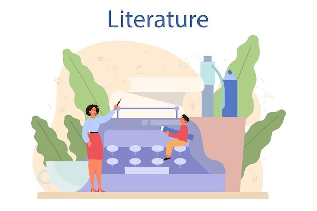 Литература школьного предмета. вебинар, курс и урок. Premium векторы