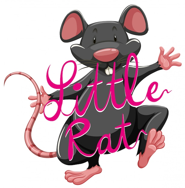 Litte rat idiom with text Premium Vector