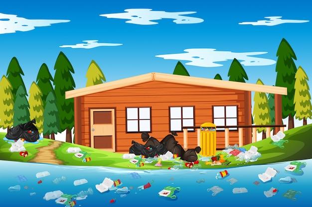 Litter in the log house Premium Vector