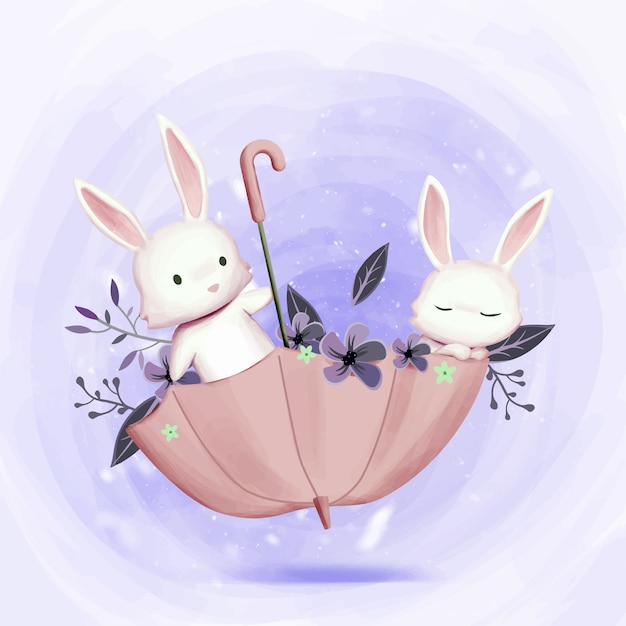 Little adorable bunnies playing with umbrella Premium Vector