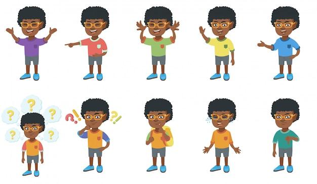 Little african boy character set Premium Vector